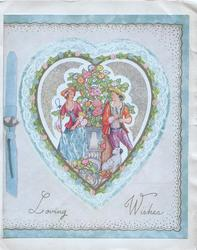 LOVING WISHES in gilt below heart shaped inset of man & woman in old-style dress, stylised flowers, dog below