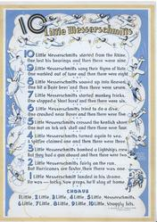 10 LITTLE MESSERSCHMITTS ten short verses-see scan, CHORUS at base, blue background