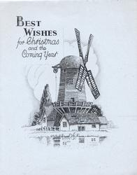 BEST WISHES FOR CHRISTMAS AND THE COMING YEAR over black & white sketch of windmill