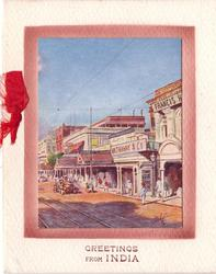 GREETINGS FROM INDIA opt. in brown below inset of Old Court-House street (title from postcard)