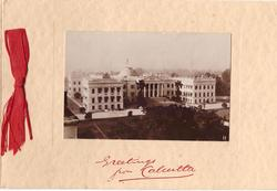 GREETINGS FROM CALCUTTA op. in red below GOVERNMENT HOUSE insert, photographic sepia