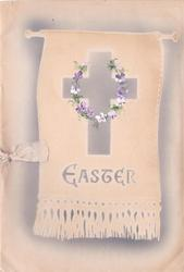 EASTER below cross with handpainted violet wreath on stenciled banner