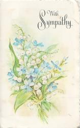 WITH SYMPATHY in silver above lilies of the valley & forget-me-nots