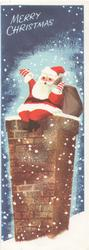 MERRY CHRISTMAS, Santa about to go down a chimney, snow falling, deep blue background