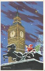 no front title, night view of Santa driving horse & cart below Big Ben set at midnight