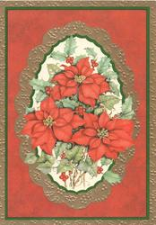no front title, inset of poinsettIa, holly & ivy, set in many coloured marginal design