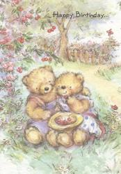 HAPPY BIRTHDAY above 2 personified Teddy bears seated on ground under cherry tree eating cherries, rural scene