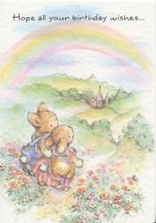 HOPE ALL YOUR BIRTHDAY WISHES...above 2 personified bunnies walking paw in paw down path, red poppies around, rainbow above