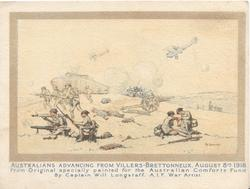 inside right:-CAPTURE OF HAMEL VILLAGE, JULY 4TH 1918 BY AUSTRALIANS ASSISTED BY A DETATCHMENT OF AMERICANS