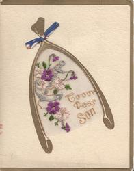 TO OUR DEAR SON on thin mesh in gilt wishbone below anchor & purple pansies