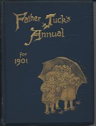 FATHER TUCK'S ANNUAL FOR 1901  three children dressed in white stand under an umbrella