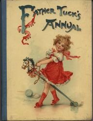 FATHER TUCK'S ANNUAL 1904 for 1905 young girl in red dress rides a hobby horse
