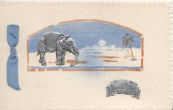 BEST WISHES FROM INDIA on silver plaque, elephant & view in designed inset