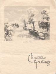 CHRISTMAS GREETINGS in blue below CHRISTMASTIDE, title of black & white winter sketch, 4 horse cart sominfg front, house right