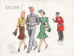 ESCORT! sargeant with eyes closed moves front left with girl on each arm, pensioner observes