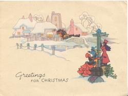 GREETINGS FOR CHRISTMAS 3 travellers in old style dress wait by signpost, 4 horse coach approaches through village