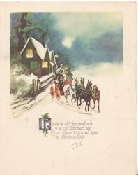 HERE'S AN OLD FASHIONED WISH....winter scene, 4 horse coach leaves lighted cottage