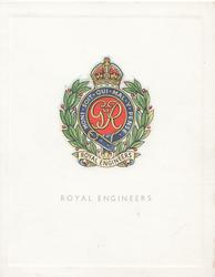 ROYAL ENGINEERS multi-coloured crest & motto HONI SOIT QUI MAL Y PENSE