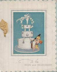 TO THE BRIDE AND BRIDEGROOM in blue below blue inset of cupid cutting 3-tier wedding cake