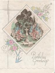BIRTHDAY GREETINGS in silver below garden & sundial inset, stylised flowers & bluebirds around