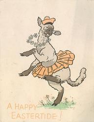 A HAPPY EASTERTIDE! lamb dances, wearing tam & tutu
