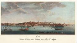 MALTA GRAND HARBOUR AND VALETTA, FROM FORT S. ANGELO