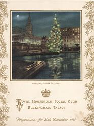 1954 PROGRAMME FOR 20TH DECEMBER, CHRISTMAS COMES TO TOWN, night view of London & tree