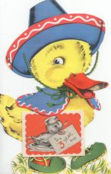 TO A 3 YEAR OLD on envelope in ducklings bill on twice folded glued sheet, dressed duckling walks right