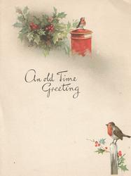 AN OLD TIME GREETING robin perched on snowy log over holly, another on letter box holly left