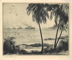 no front title, ships approach land, prominent palm trees right