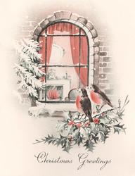 CHRISTMAS GREETINGS 2 die-cut robins perched on holly look in living room window