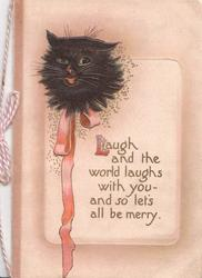 LAUGH AND THE WORLD....head of black cat & pink ribbon top let