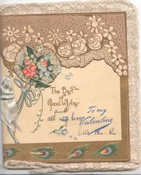 TO MY VALENTINE in blue below greeting & complex stylised flora lgilt design
