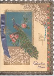 VALENTINE MINE blue below GOLDEN DAYS & complex stylised flora gilt design, peacock perched on pink roses