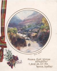 GLEN GARRY below circular Scottish view of stream over rocks, verse, FOR LUCK tartan &  heather