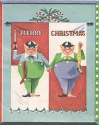 MERRY CHRISTMAS, Tweedleddee & Tweedledum  hold hands standing facing front