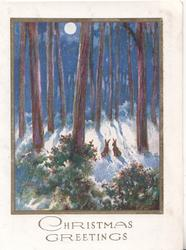 CHRISTMAS GREETINGS below moonlit winter forest scene, 2 small rabbits