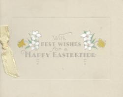 WITH BEST WISHES FOR A HAPPY EASTERTIDE stylised whit flowers & yellow daffodils on central plaque
