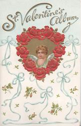 ST. VALENTINE'S ALBUM in gilt above, blue winged angel in gilt heart shaped inset, blue ribbon & rose-bud backgtound design
