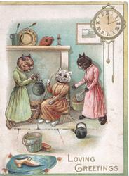 LOVING GREETINGS, Cinderella & her sisters in kitchen, clock top right
