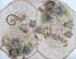 GOOD WISHES in gilt & purple campanula across both heavily perforated flaps