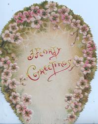 HEARTY GREETINGS in red under  horseshoe shaped pink forget-me-nots on both flaps