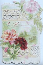 GOOD WISHES in gilt design on rural inset above red & pink carnations, pink carnation above, heavyily perforated design