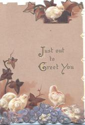 JUST OUT TO GREET YOU in gilt, ivy leaves, violets & newly hatched chicks, brown background front & back