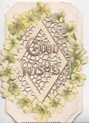 GOOD WISHES in gilt over diagonal perforated central design surrounded by yellow primroses