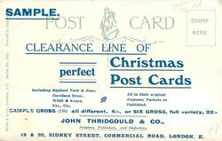 SAMPLE. CLEARANCE LINE OF PERFECT CHRISTMAS POST CARDS. ALL IN THEIR ORIGINAL SIXPENNY PACKETS AS PUBLISHED....