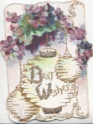 BEST WISHES(B & W illuminated & glittered)  in gilt on Japanese lanterns below violets