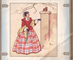 no front title, woman in red reaches hand with acorn toward squirrel having a snack on pillar