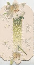EASTER-TIDE in silver right, white lilies above & below, white net design over vertical olive column