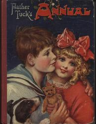 FATHER TUCK'S ANNUAL 1918 for 1919, girl in red dress and bow in hair gets hugged by boy in sailor suit